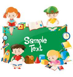Frame design with children reading books vector