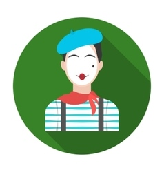 French mime icon in flat style isolated on white vector image