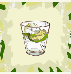 Gin and tonic cocktail alcoholic vector