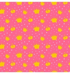 Girlish pink pattern with princess crowns vector image
