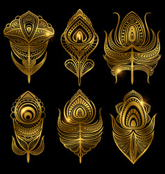 golden feathers isolated on black vector image