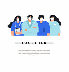 Group male and female doctors and nurses vector