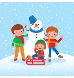 Group of Children playing in the winter outdoors vector image