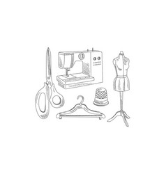 Hand drawn icons related to tailoring theme vector