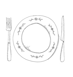 hand drawn plate and fraje vector image