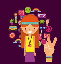 hippie woman character hand peace and love vector image