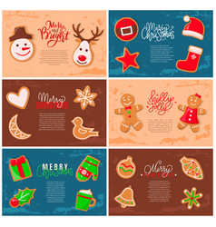 holly jolly gingerbread man cookie presents set vector image