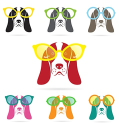 Images of basset hound dog wearing glasses vector