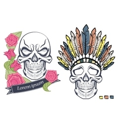 Isolated skull in old school style ethnic vector image