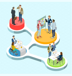 isometric people communicating infographics vector image