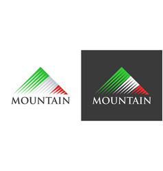 Italian flag in logo of mountains vector