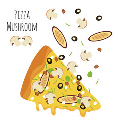 italian mushroom pizza slice with falling vector image