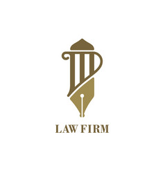 law service logo with pillar and fountain pen vector image