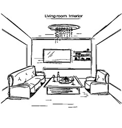 living room interior black hand drawing vector image vector image