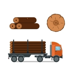 Lumberjack cartoon truck icons vector