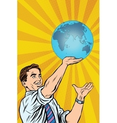 Man holding planet Earth in hand vector image vector image