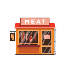 Meat shop flat butcher store vector