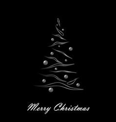 merry christmas white elegant christmas tree on vector image