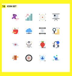 Modern set 16 flat colors pictograph apple vector