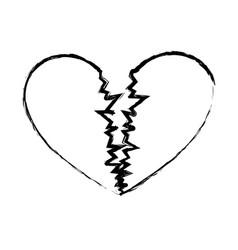 monochrome sketch of broken heart vector image
