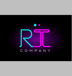 neon lights alphabet rt r t letter logo icon vector image