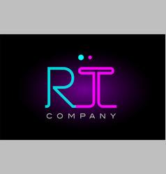 Neon lights alphabet rt r t letter logo icon vector