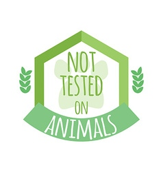 Not tested on animals label or logo vector image