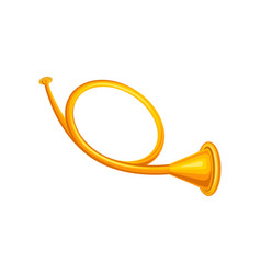 old golden hunting horn trumpet concept of brass vector image