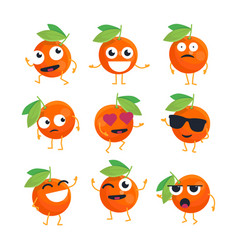 Oranges - isolated cartoon emoticons vector
