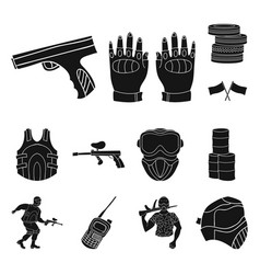 Paintball team game black icons in set collection vector