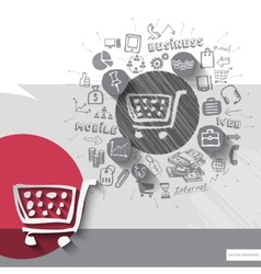 Paper and hand drawn shopping cart emblem with vector image