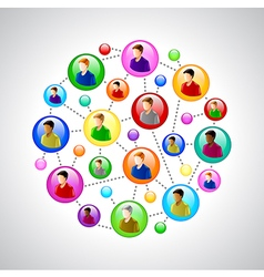 People networking concept with colorful circles vector