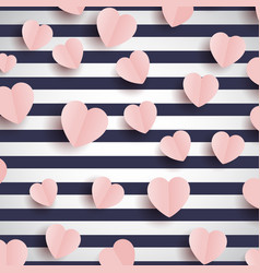 pink hearts on a striped background vector image