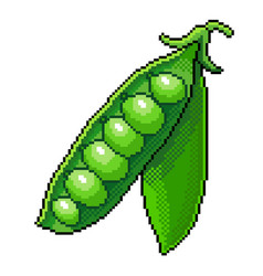 pixel green peas detailed isolated vector image