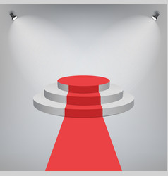 red carpet on a stage podium for award with lights vector image