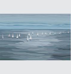 Sailboats in the sea landscape vector