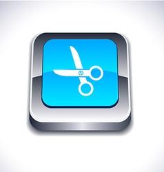 Scissors 3d button vector