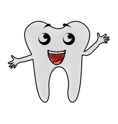 Scribble tooth cartoon vector