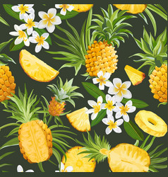 seamless floral pineapple pattern plumeria vector image