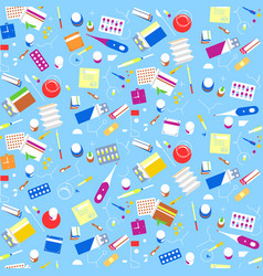 seamless pattern pharmacy drugs background vector image