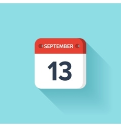 September 13 isometric calendar icon with shadow vector