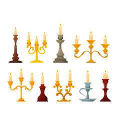 set candle holders and candelabra lights vector image
