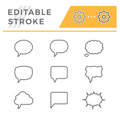 Set line icons speech bubble vector