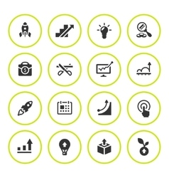 Set round icons of start-up vector image