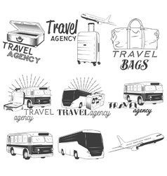 set travel and transportation labels in vector image