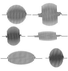 Set wavy oscillogram vector