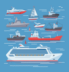 Ships boats or cruise travelling in ocean vector