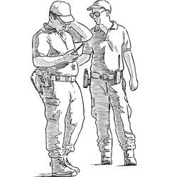 Sketch security guards at work vector