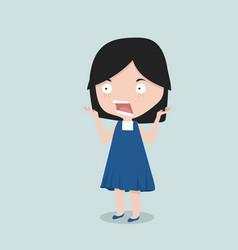Small girl shock emotion vector