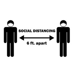 Social distancing 6 ft apart stick figure vector